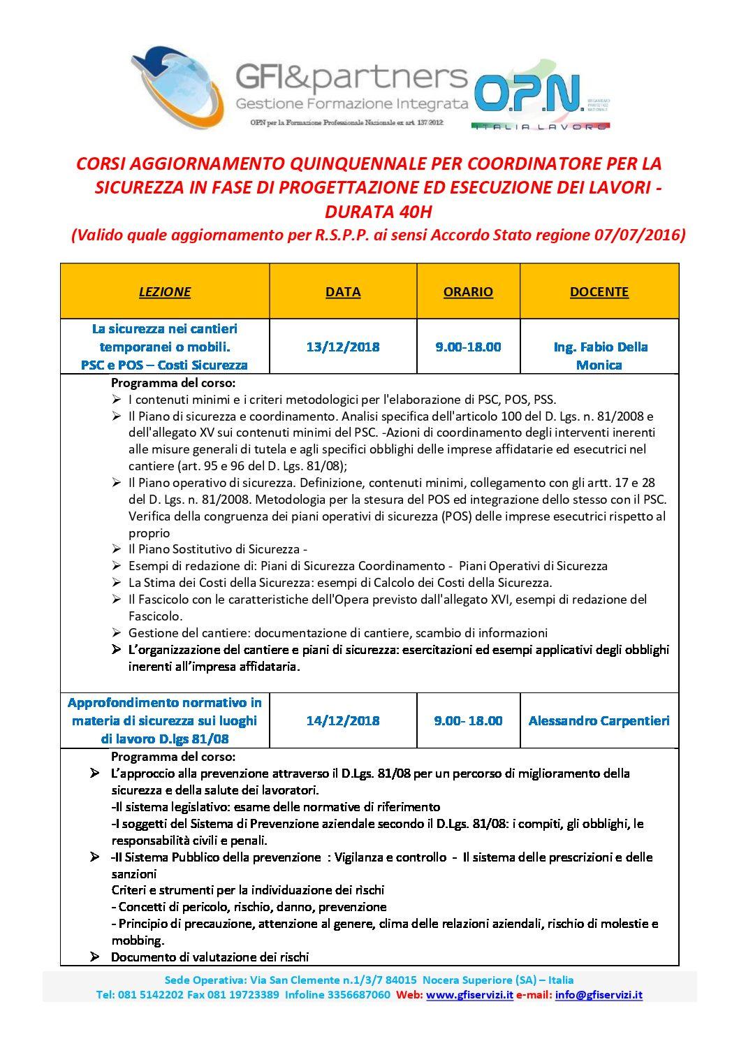 AGGIORNAMENTO COORDINATORE SICUREZZA CANTIERI 40 ORE CON RILASCIO 40 CFP PER INGEGNERI E GEOMETRI