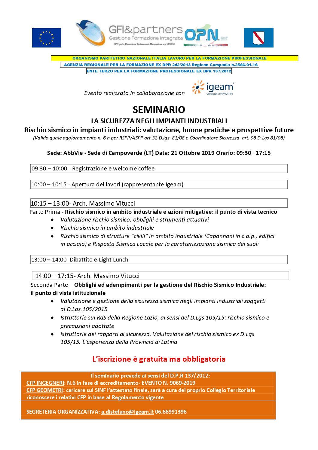 Seminario gratuito con rilascio crediti formativi per Ingegneri e Geometri- 21 ottobre 2019