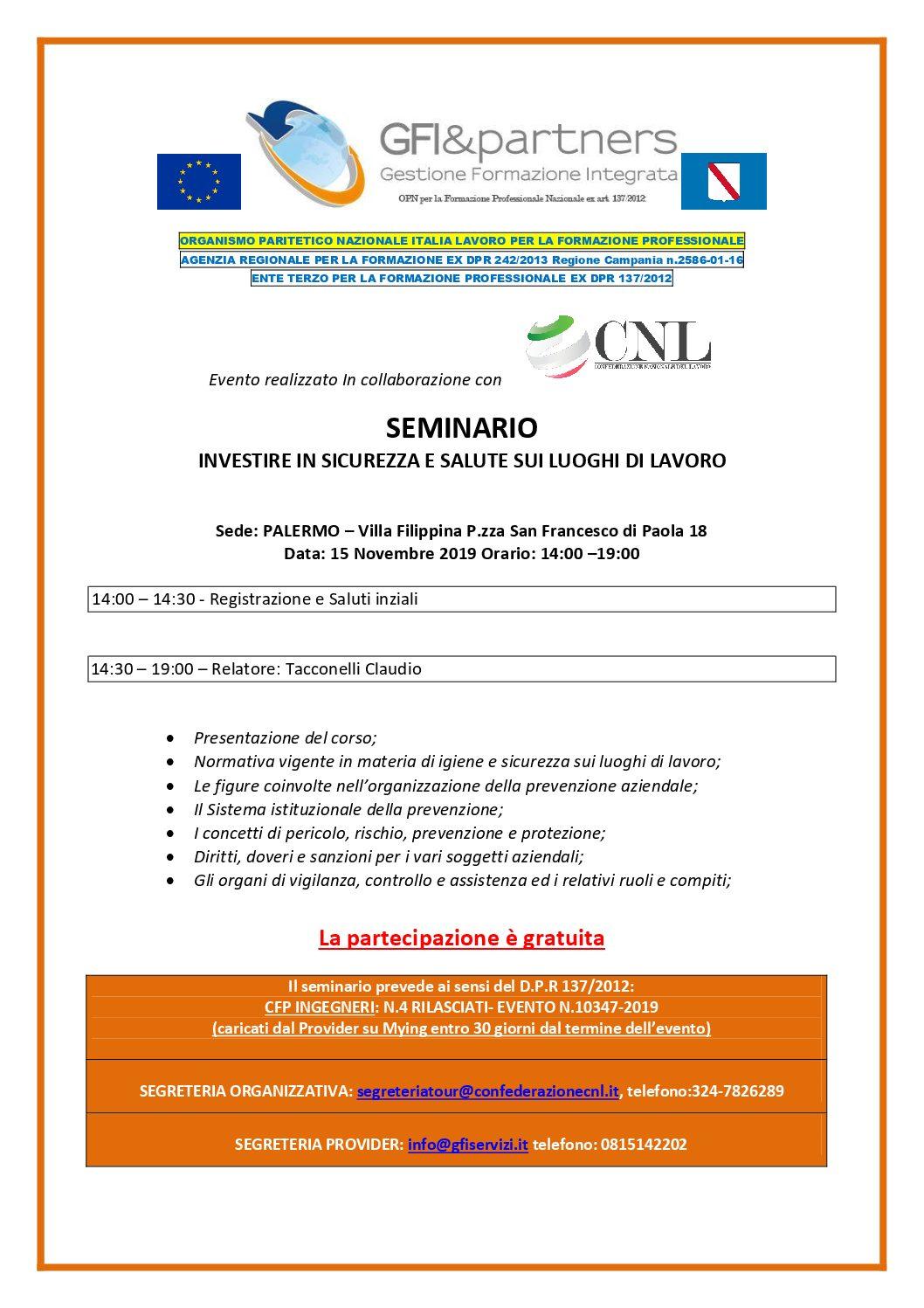 INVESTIRE IN SALUTE E SICUREZZA SUL LAVORO- Seminario gratuito con rilascio CFP per INGEGNERI- Palermo