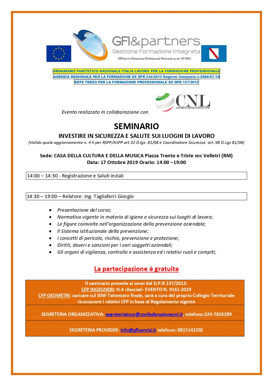 Seminari gratuiti con rilascio di Crediti Formativi Professionali  per Ingegneri e Geometri