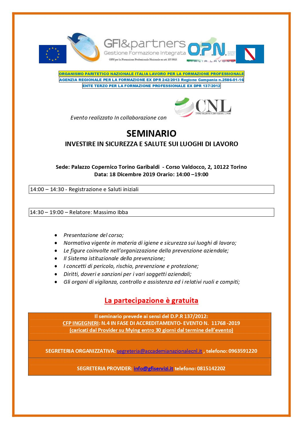 INVESTIRE IN SALUTE E SICUREZZA SUL LAVORO- Seminario gratuito con rilascio CFP per INGEGNERI- TORINO